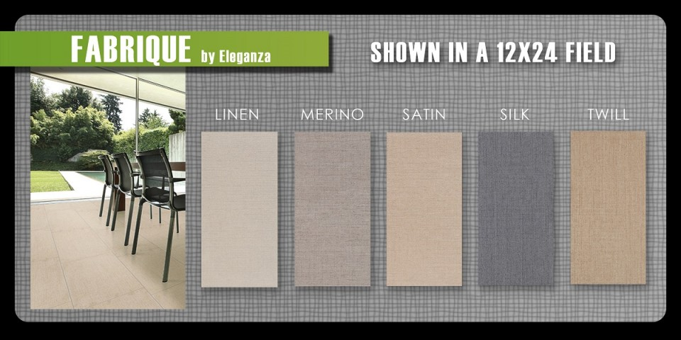 Eleganza Fabrique porcelain tile United 12x24 1x4 stack set mosaic linen silk twill Merino Satin