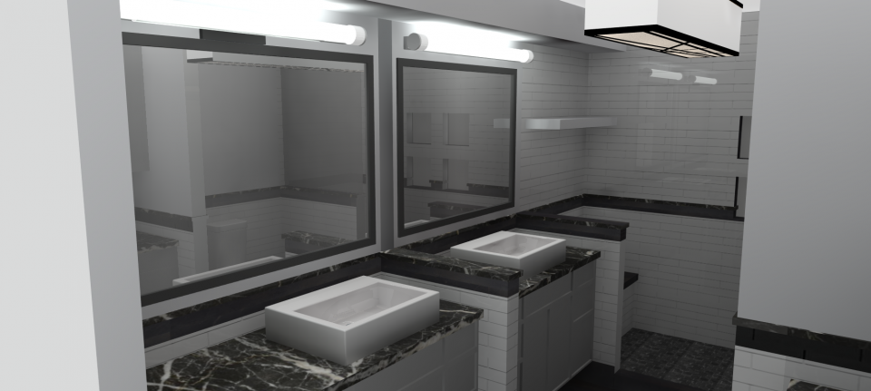 google sketchup bathroom render reflective mirror lights imagination design marble slab