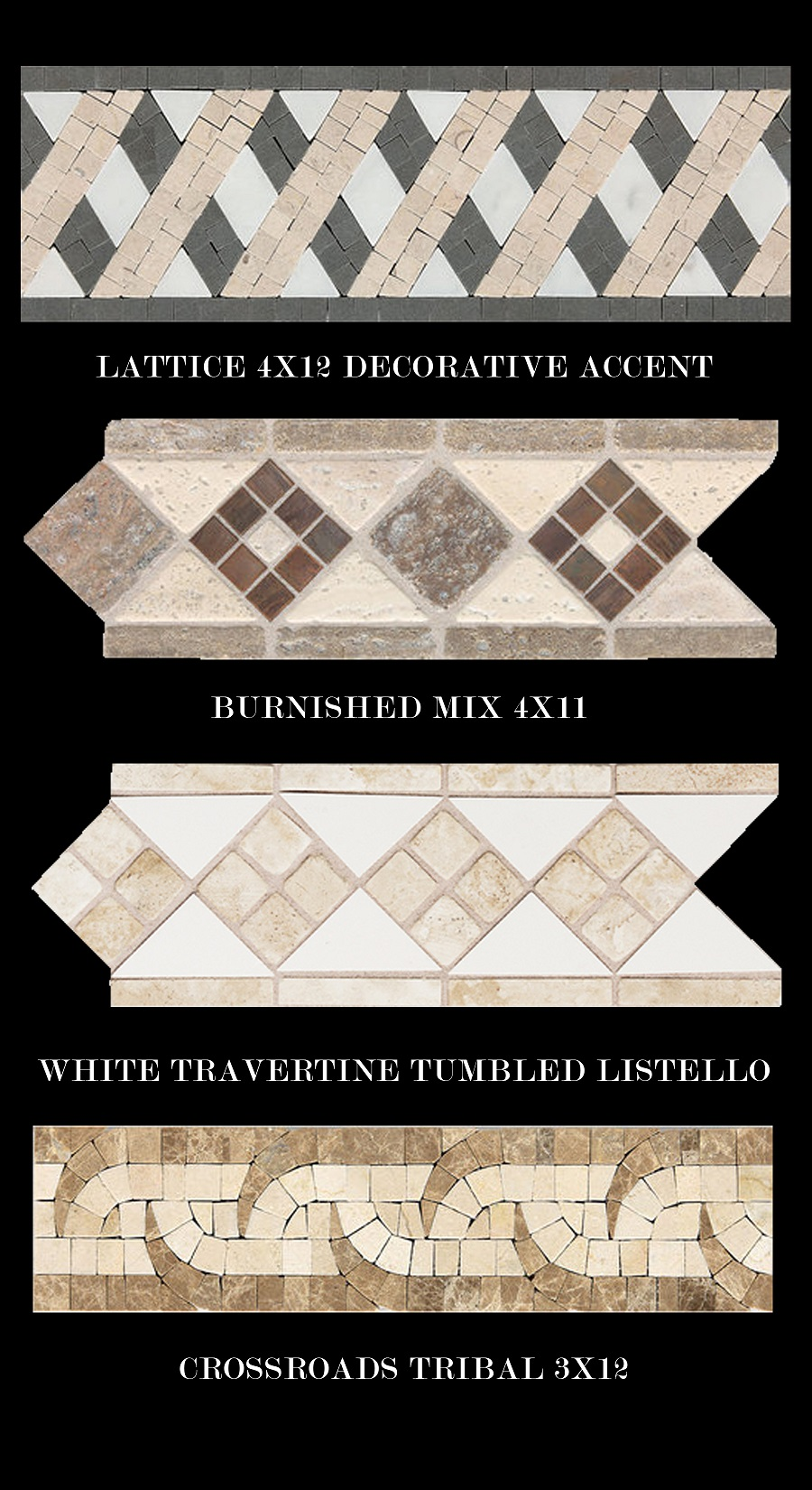 Stone combinations Daltile Fashion accents decorative border strip Lattice Burnished mix white travertine tumbled listello crossroads tribal pattern copper walnut grey white