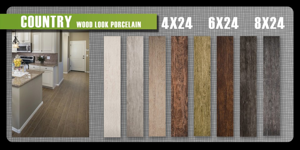 Wood look porcelain tile Emser Country high variation eight colors