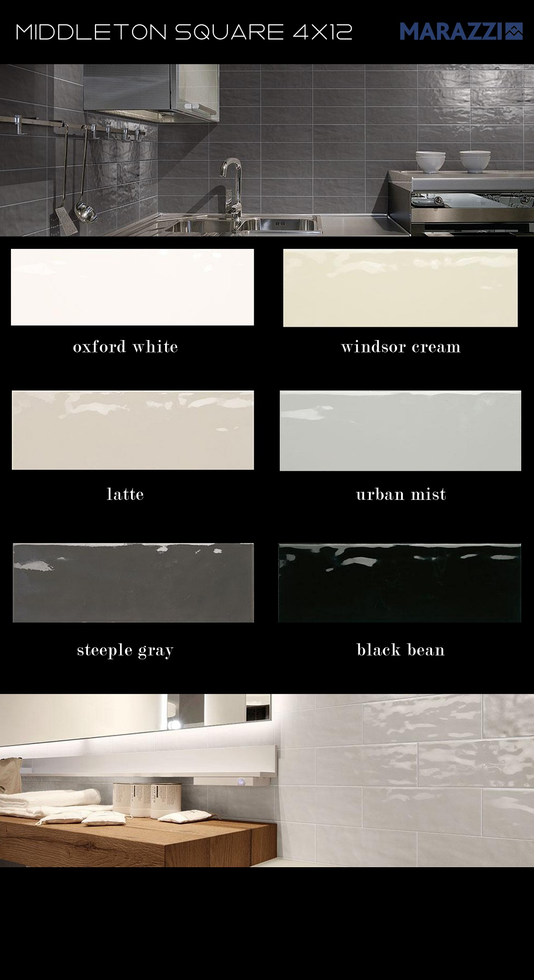 Marazzi hand mold contemporary ceramic wall tile rectangle subway 4x12 oxford white windsor cream latte urban mist steeple gray black bean