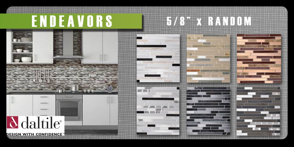 Endeavors by Daltile is a beautiful blend of natural stone, glass and metal. 5/8 x random linear mosaic.