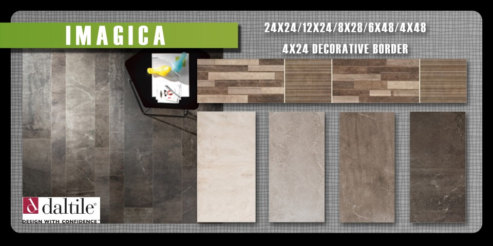 Imagine what you could do with Imagica by DalTile. Solid color body porcelain tile in 8 sizes plus a decorative border.