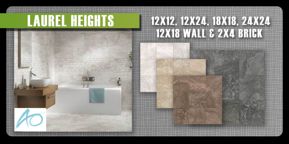 Laurel Heights by American Olean is a beautiful porcelain tile in large sizes and a versatile 2x4 brick mosaic.