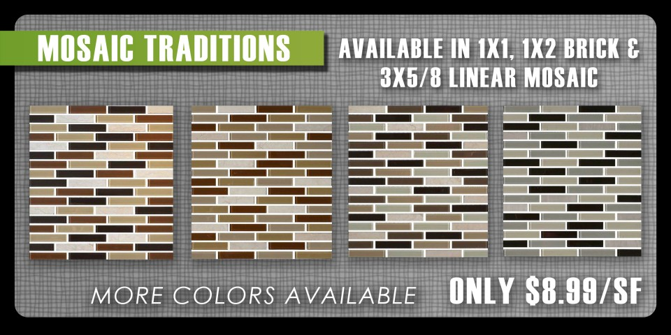 Mosaic traditions by Daltile are modern and sophisticated mosaic. Best of all they are inexpensive!