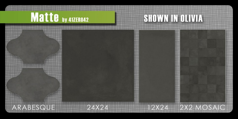 41zero42 concrete porcelain tile Mate 2x2 mosaic large format 12x24 24x24 arabesque in two colors modern industrial color body