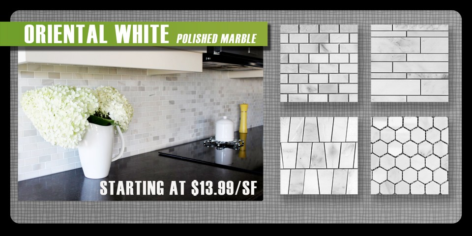 Oriental White Marble backsplash by Thompson Tile & Stone brickset random linear mosaic hexagon