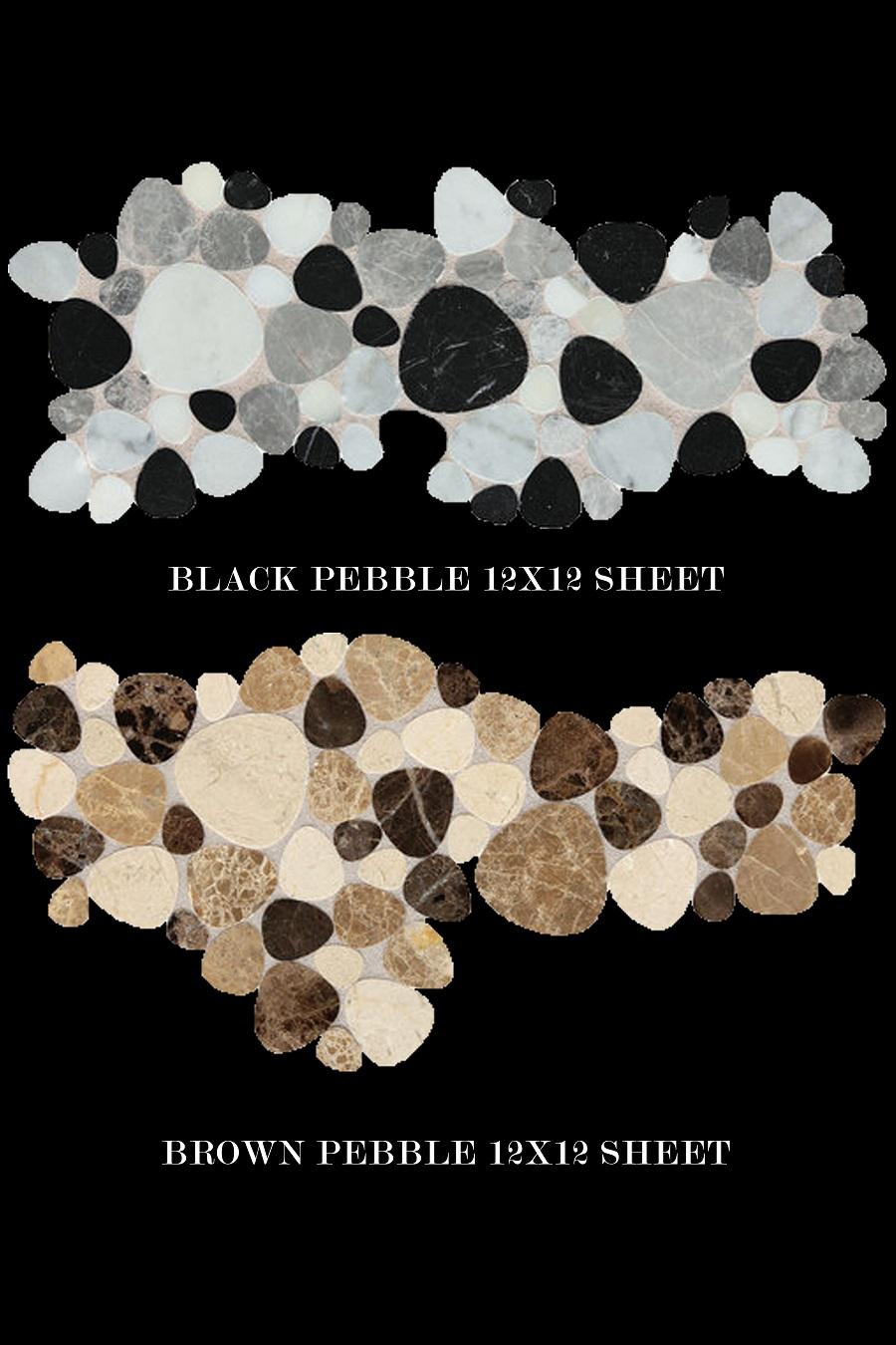 Daltile Fashion accents black pebble flat polished brown pebble grey noce gris mosaic sheet random natural stone