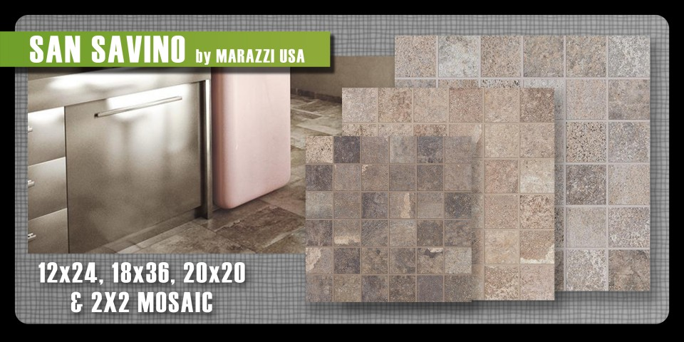 San Savino porcelain tile Marazzi USA mosaic field concrete urban contemporary cool tones