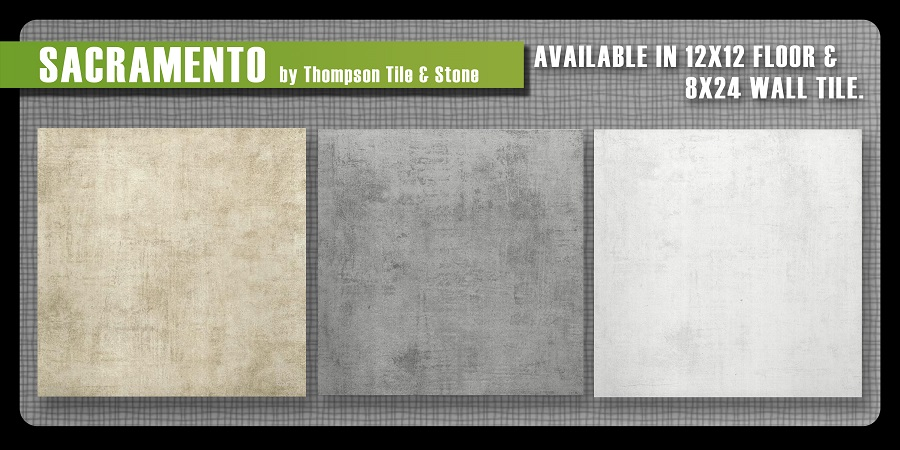 Sacramento ceramic floor tile three colors Thompson tile and stone Olympia