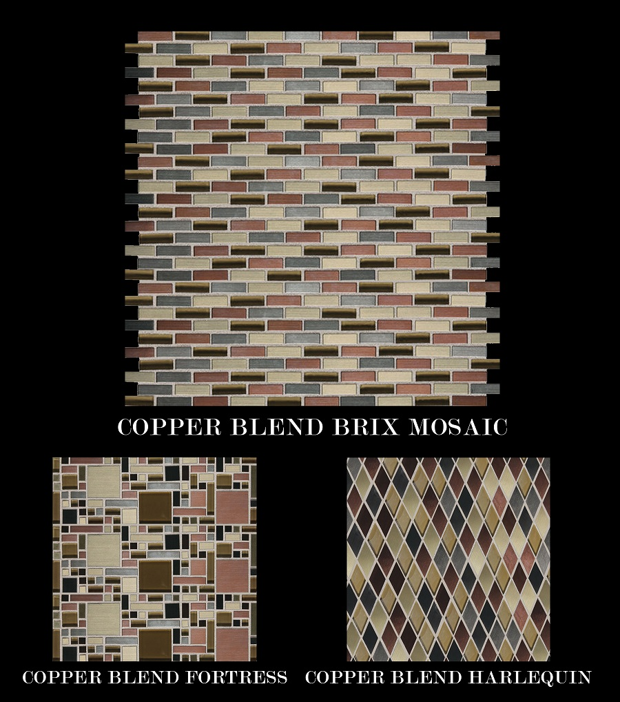 metal mosaic Daltile shimmer brix fortress harlequin mosaic sheet copper nickel reflective metallic blends diamond mini brick random mosaic Fashion accents