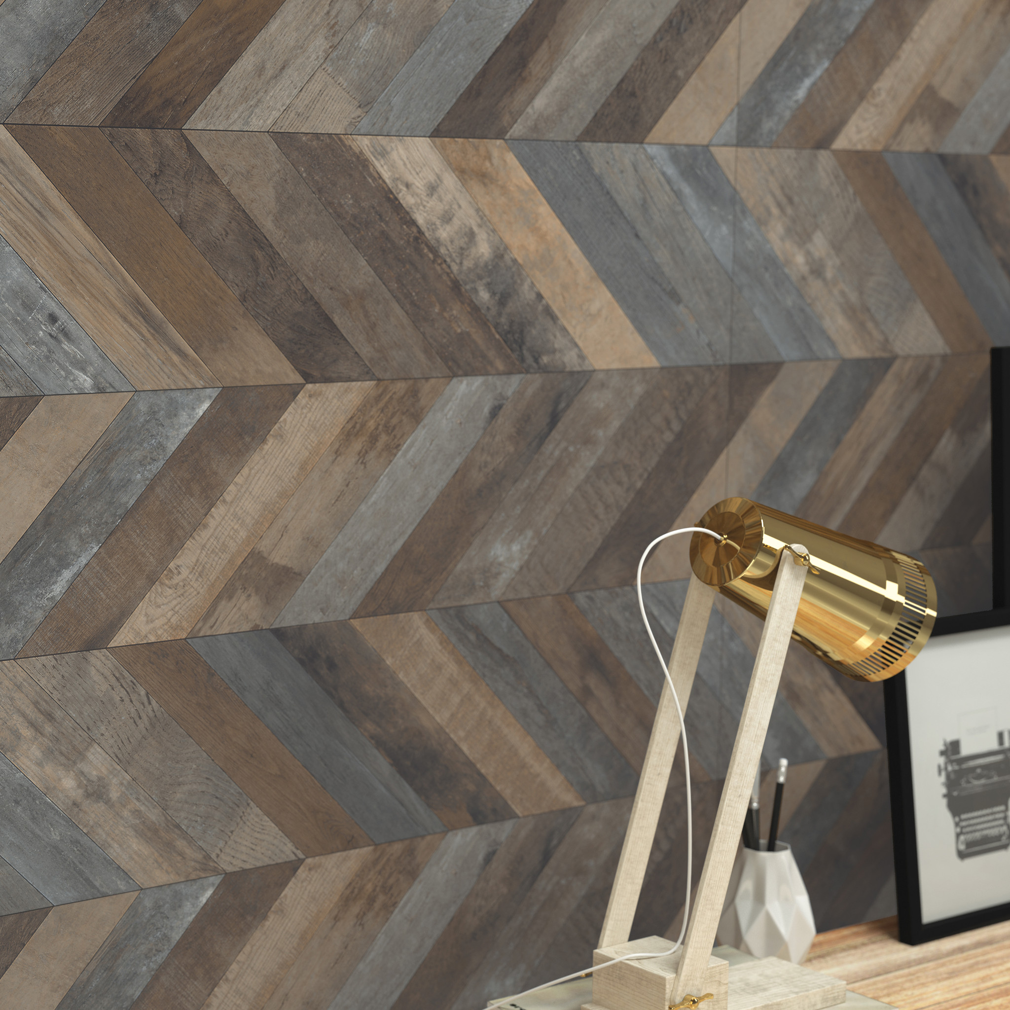 Velocity Emser Chevron wood panel decorative texture rustic wood plank