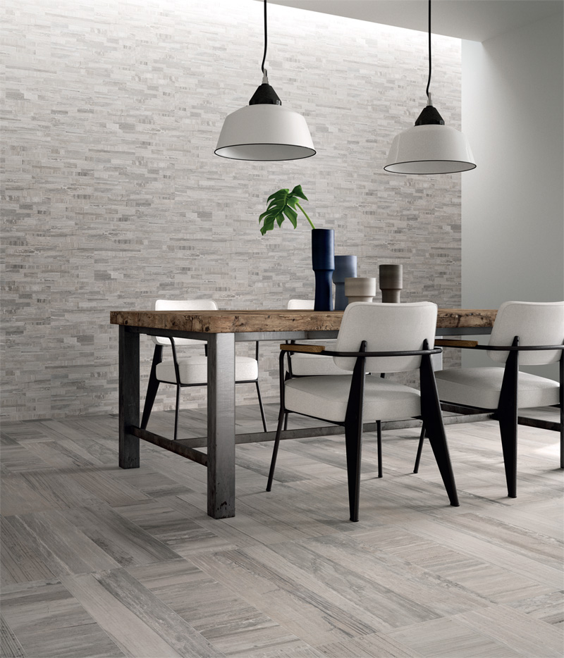 Porcelain tile S'tile Bali exotic natural gray camou 12x24 wood plank contemporary grey tones taupe mauve flooring 2015 trends decorative wall tile
