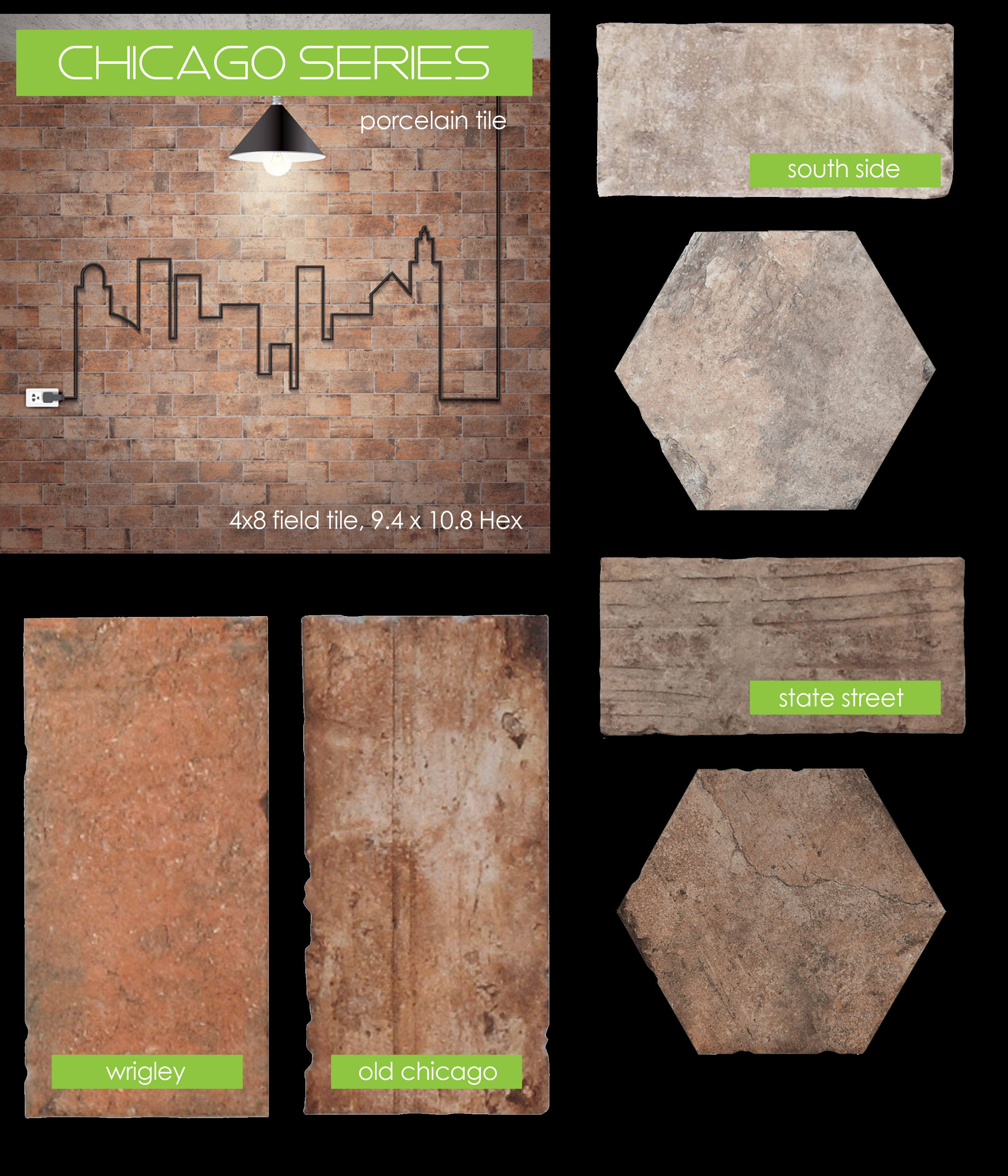 SERENISSIMA CHICAGO brick tile pavers south side wrigley old 4x8 field tile hexagon hex rugged rustic vintage porcelain interior backsplash wall floor