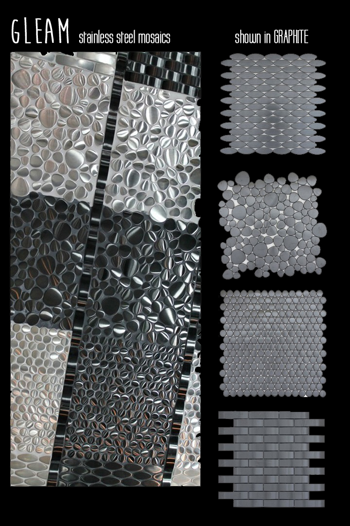 Gleam Emser Tile stainless steel mosaics modern metal oval pebble brick set graphite silver modern contemporary metallic sheet