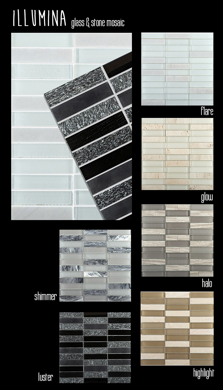 Emser Tile & Stone Illumina Glass mosaic with stone straight stack halo glow luster shimmer highlight flair