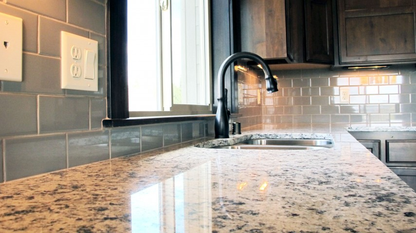 Porcelain subway tile backsplash