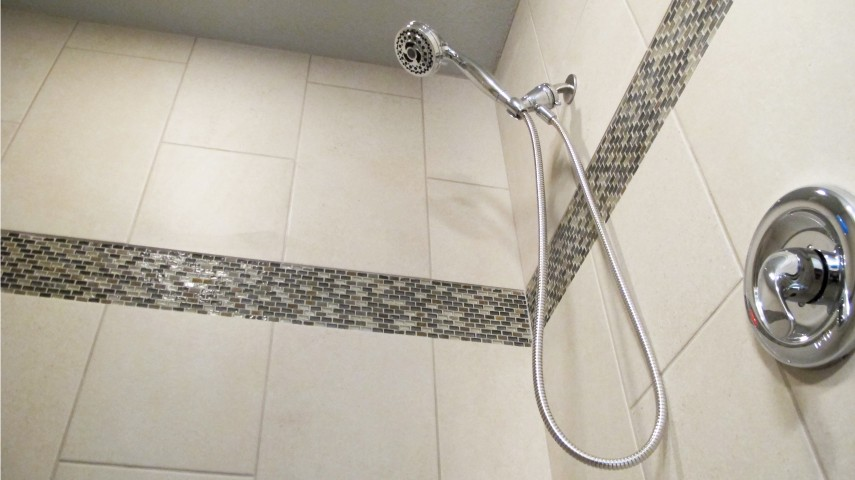 walk in shower cronin household porcelain tile grout joints tan sand beige border micro mosaic brick pearl Oregon tile & Marble 12x24 vertical stagger joint