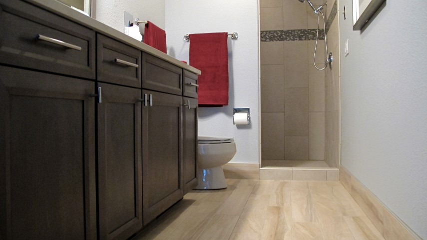wood plank S'tile porcelain tile 6x36 base Tabula Miele bathroom
