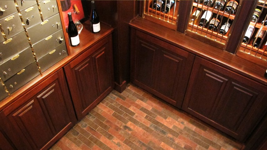 wine cellar paver floor dal tile Union Square 2x8 Courtyard Red and Cable Brown