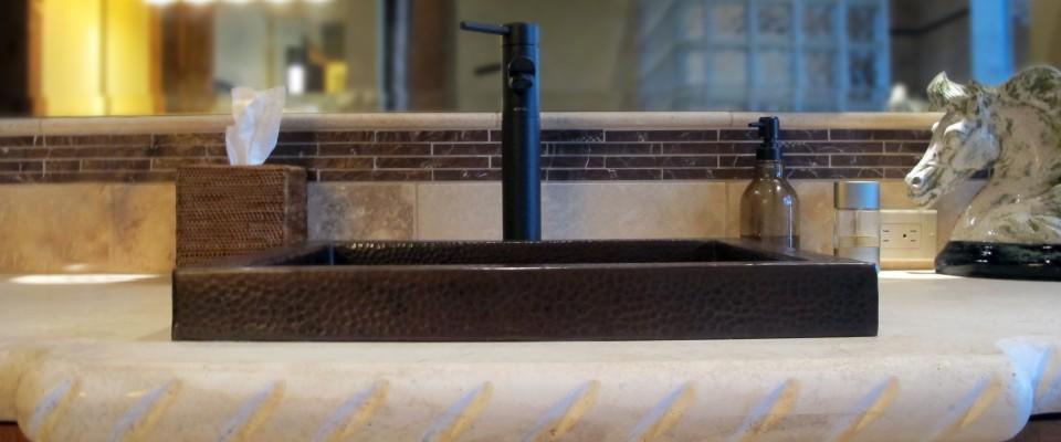 Master vanity backsplash antique brushed bronze copper hammered overmount sink rope edge countertop travertine oregon tile & marble leaf deco bronze