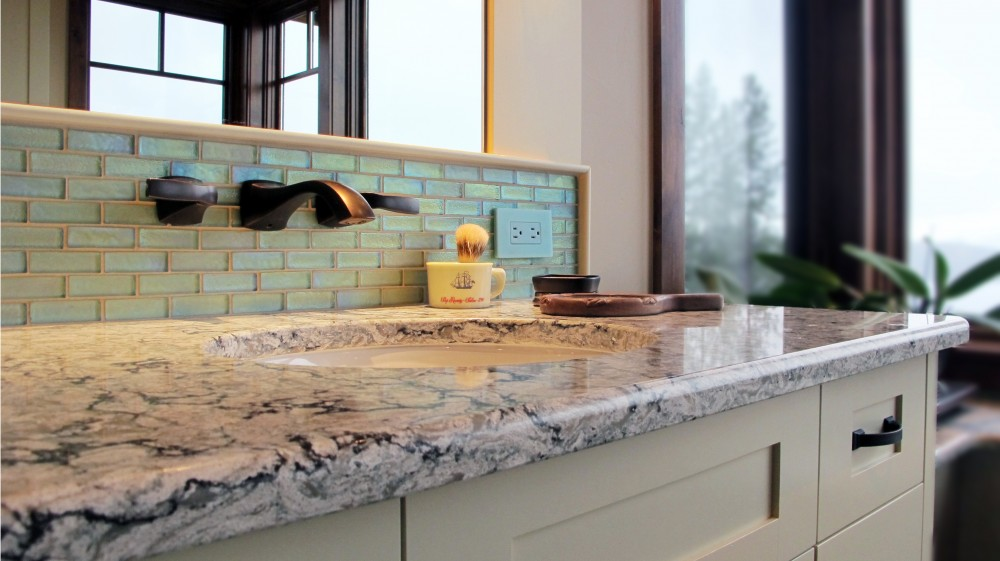 master vanity cambria countertop Praa Sands undermount sink backsplash Boyce and Bean 1x3 offset in Aquatic Antique bronze fixtures