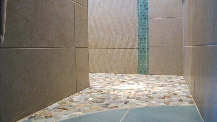 Master shower floor mosaic color blox porcelain tile floors 18x18 sea monkey curve floor Venetian pebble mosaic pastel blend Emser porcelain New stone tile walls S'tile Borgogna and Onda Relief Deco witha  border of boyce and beans 1x3 offset in Aquatic