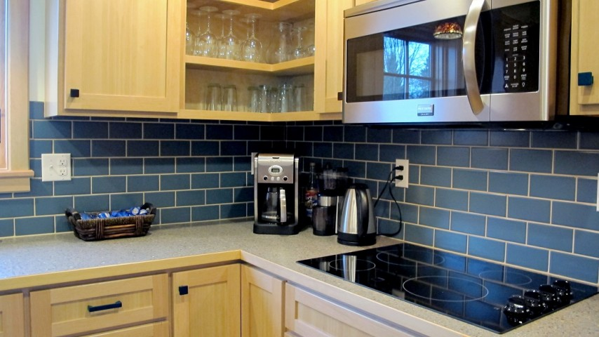 Bimini Blue Backsplash In 3x6 Subway Tile Kitchen Stainless Steel With  Laminate Countertop Wilsonart White Grout