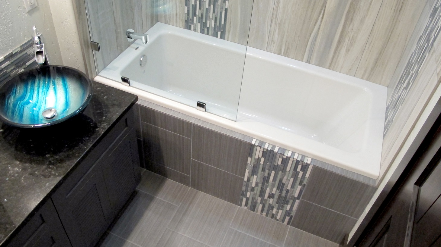 Glass top bathroom sinks - Large Custom Home With Porcelain Tile And Natural Stone