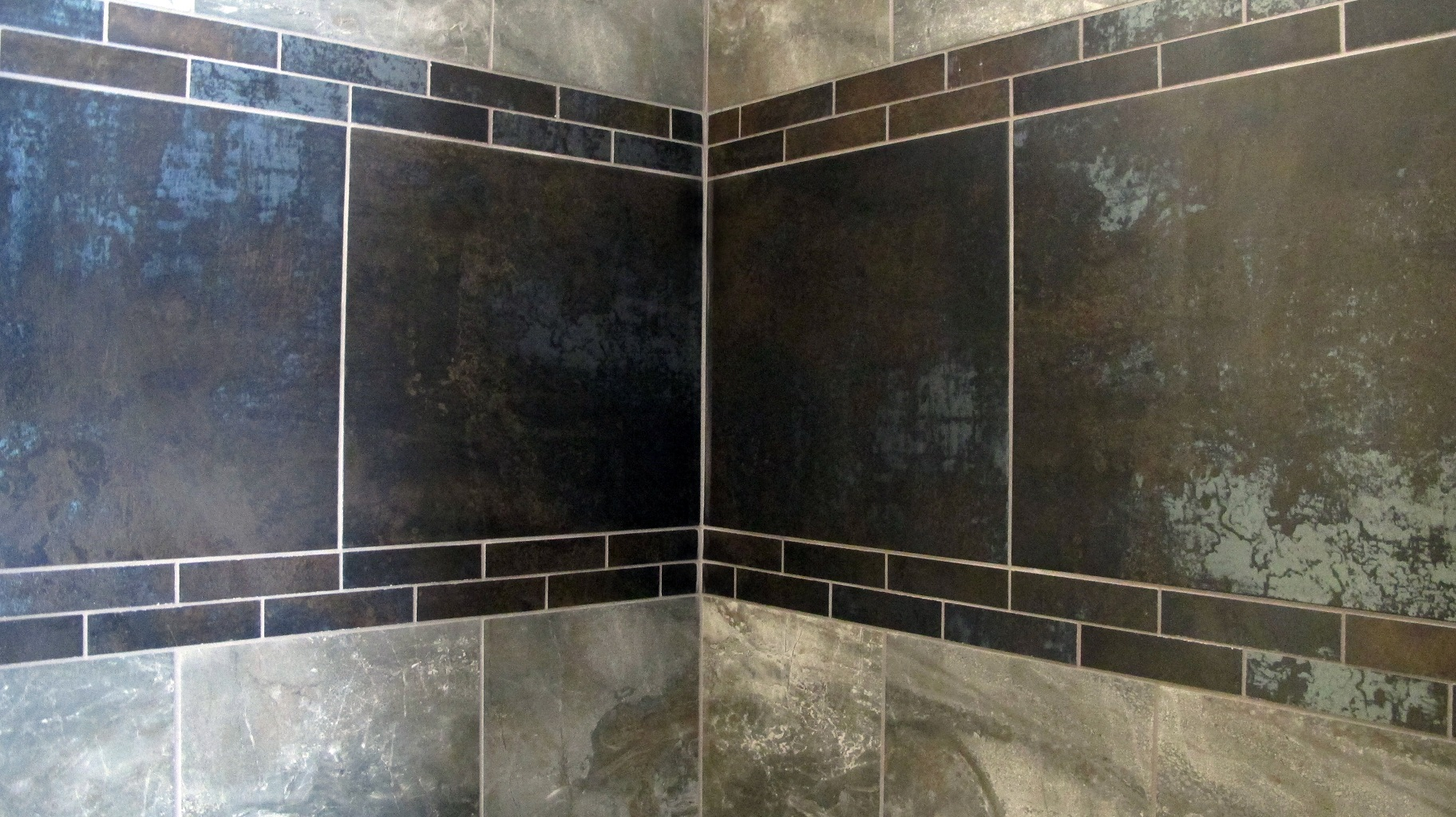 Shower wall tile American olean danya Basin 12x12 field statements metallic antares nero  decorative band large porcelain grey brown modern rustic castle