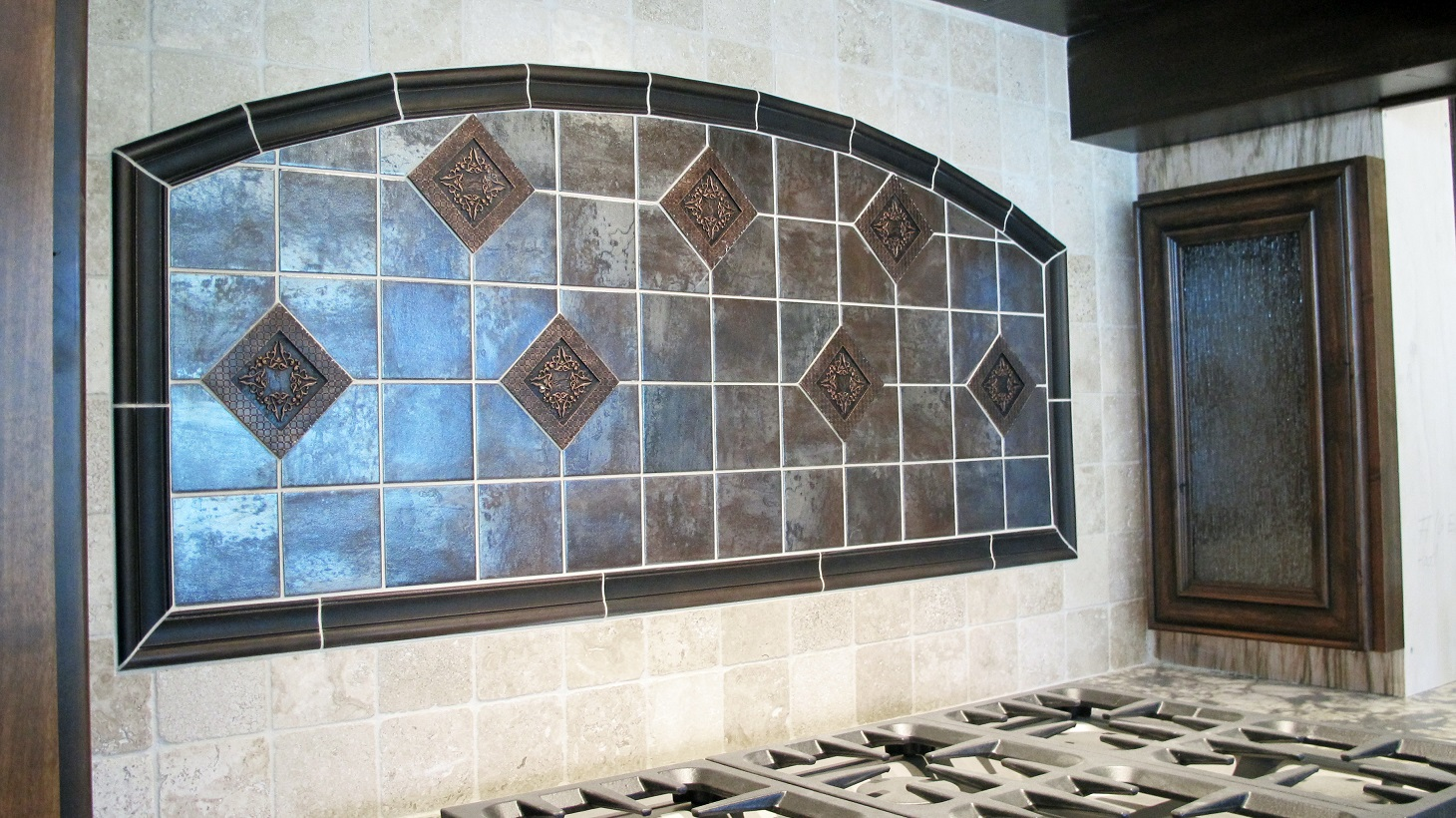 Large Custom Home With Porcelain Tile And Natural Stone - Decorative 4x4 metal tiles