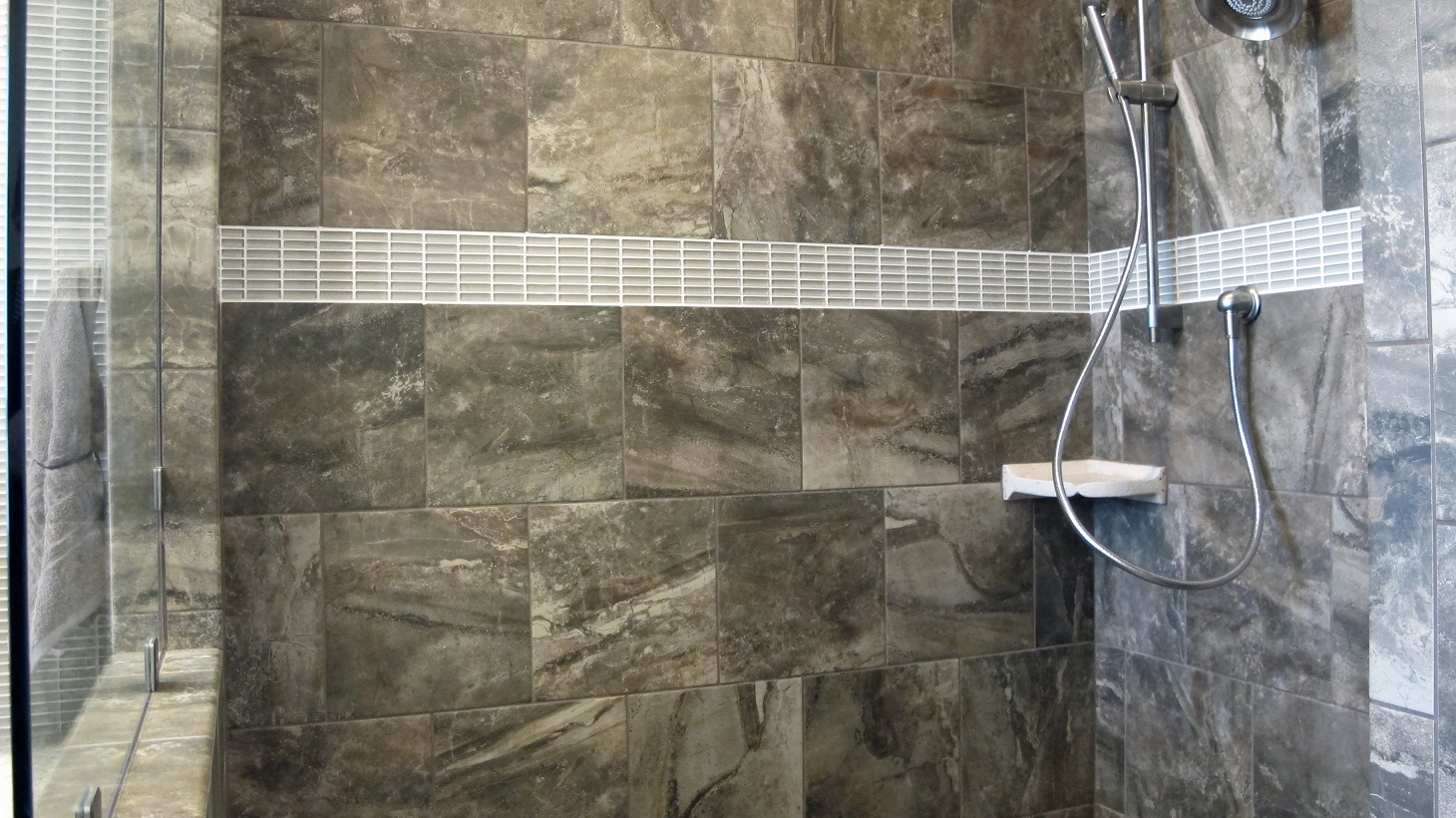 American Olean Danya 12x12 Riverbed cristallo glass stacked mosaic thompson tile olympia shower walk in