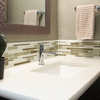 Powder bathroom vanity LG Viatera Quartz cashmere undermount sink porcelain kohler Glazzio Tile Random interlocking mosaic glass Marble Canyon