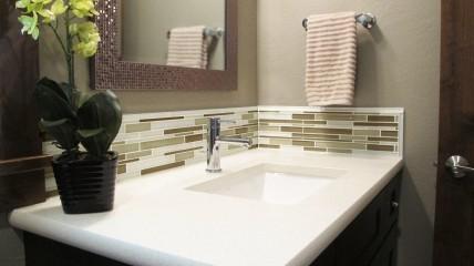 Powder bathroom vanity LG Viatera Quartz cashmere undermount sink porcelain kohler Glazzio Tile Random interlocking mosaic glass Marble Canyon