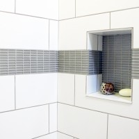 Thompson Tile Colour & Dimensions arctic white 8x20 with Cristallo Glass 1/2 x 2 in special gray. Custom Shower