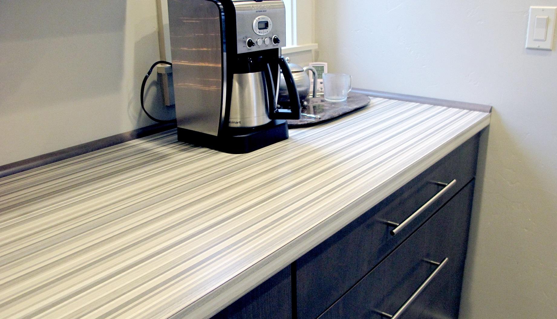 Laminate Countertop Formica Ashen Ribbonwood Linear Stripe Wood Grain Contemporary Modern Sleek Bistro Bar Cabinet Brushed