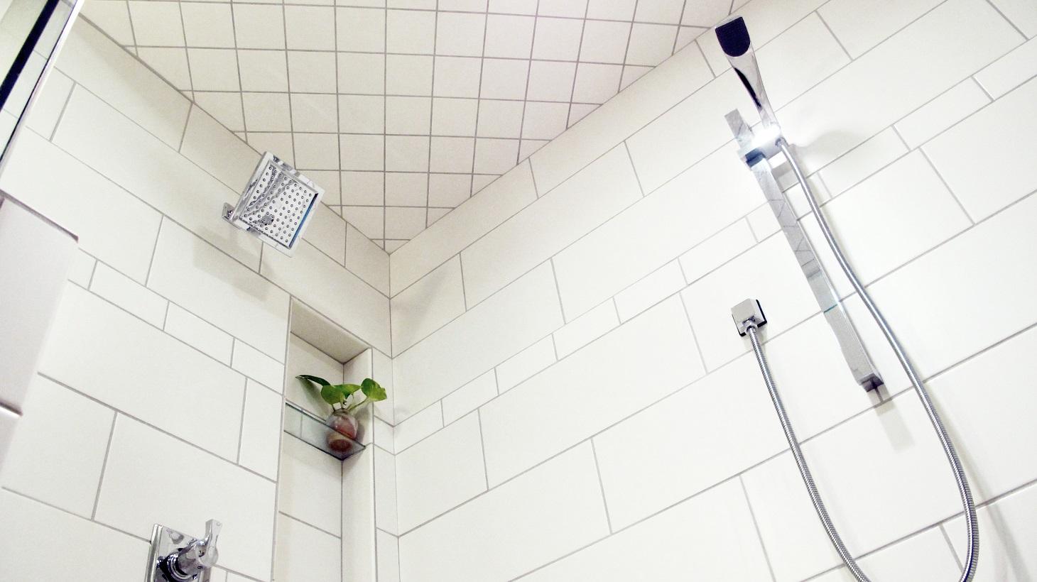 White Steam Shower Inside Chrome Fixtures Enclosed Various Sizes Porcelain Ceramic Tile Large Format Subway